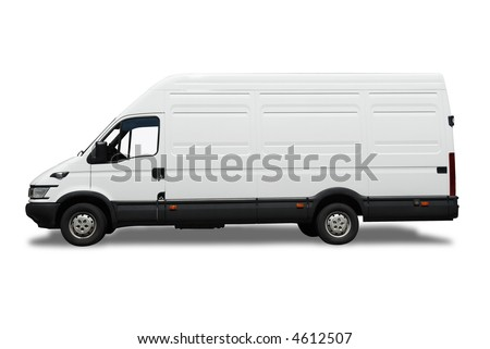 White isolated delivery van for your label.