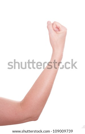 White isolated female arm with fist - stock photo