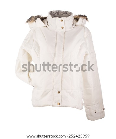 white jacket isolated over white background closeup