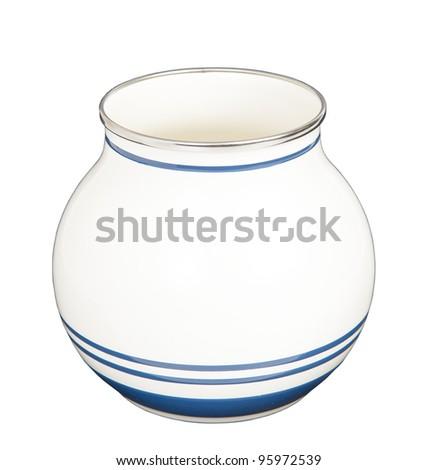 white jar with strip line - stock photo