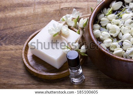 White jasmine flower with spa concept - stock photo