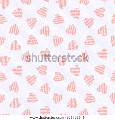 White Jeans background with hearts. Denim seamless pattern. Valentine's Day wallpaper.
