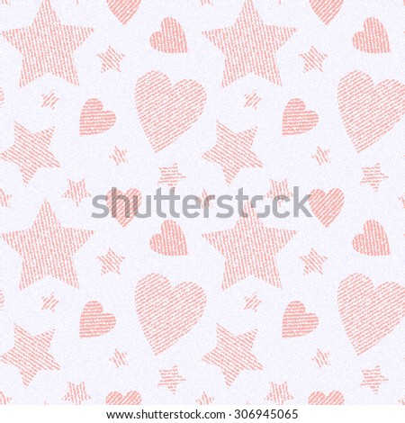 White Jeans background with pink hearts and stars. Denim seamless pattern.