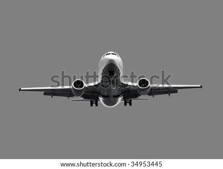 White jet airplane - isolated on grey - stock photo