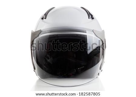 White jet fighter style helmet - stock photo