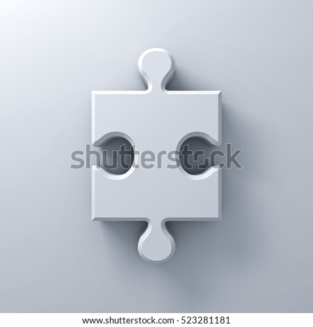 White jigsaw puzzle piece concept on white wall background with shadow. 3D rendering.