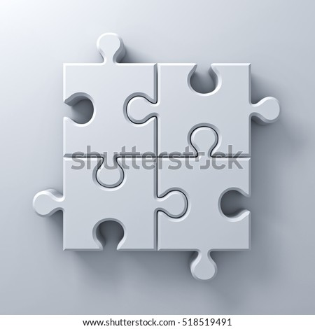 White jigsaw puzzle pieces concept on white wall background with shadow. 3D rendering.