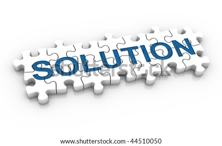 White jigsaw puzzle with blue word solution on a white background. Concept image. Part of a series. - stock photo