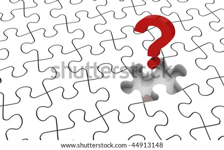 White jigsaw puzzle with missing piece. Image concept and part of a series. - stock photo