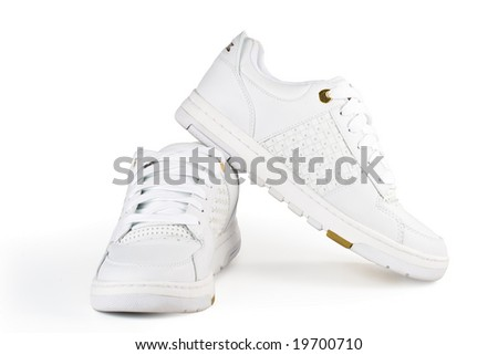 White jogging shoes on a white background