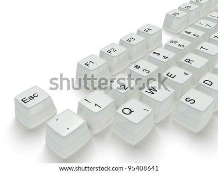 white key in a keyboard  on the white background