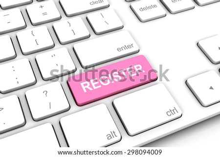 White keyboard with a pink button register.