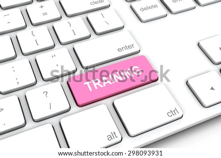 White keyboard with a pink button training.