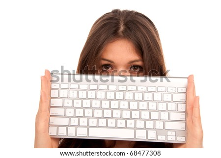 White keyboard. Woman holding in hands modern and stylish remote laptop keyboard that can be connected to PC computer wirelessly isolated on white background - stock photo