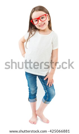 White kid t-shirt. Smiling full-length girl. Casual hipster fashion. Empty space on tshirt for your brand logo print image