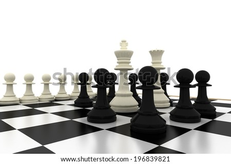 White king and queen surrounded by black pawns on white background