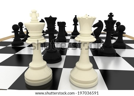 White king and queen with black pieces on white background