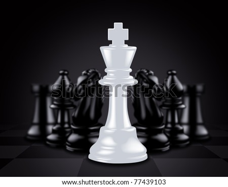 White King stand out against black chess pieces - stock photo