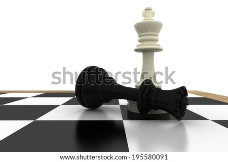 White king standing over fallen black queen on white background