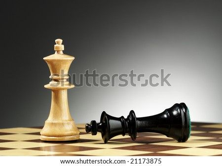White king stands tall next to defeated black king - stock photo