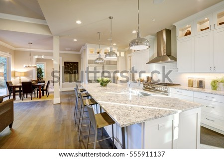 Kitchen Design Usa white kitchen design features large bar stock photo 555911137