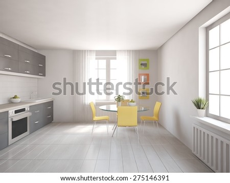 white kitchen design of modern house - 3d rendering - stock photo