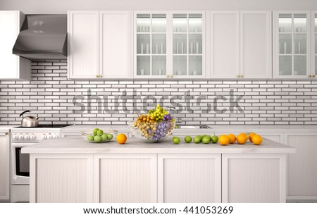 White kitchen. Fruits close-up on the table. 3d illustration