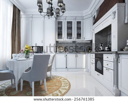 White kitchen in a classic design with a dining table and chairs. A large copper hood over the stove, built-in appliances. Kitchen apron from gray Venetian plaster. 3D render. - stock photo