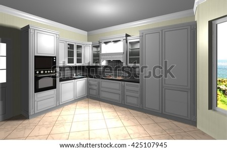 white kitchen in classic style 3D rendering design