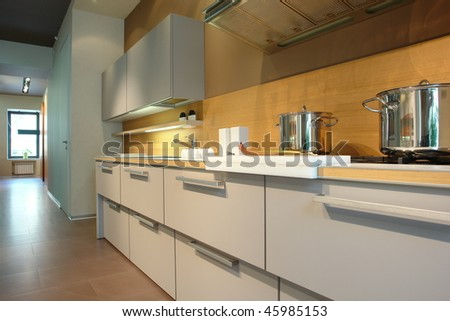 White kitchen in perspective - stock photo