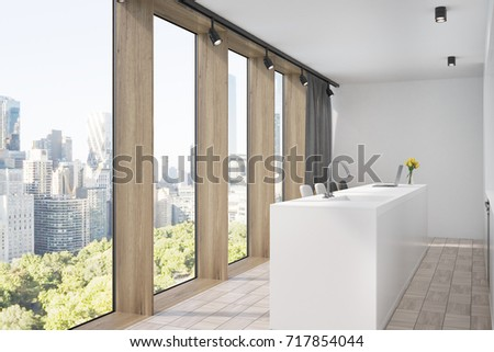 White Kitchen Interior With A Wooden Floor And Window Frames, A White Bar  Stand,