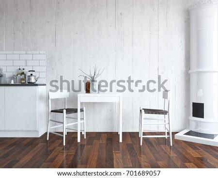 White Kitchen Room Interior Scandinavian Interior Stock Illustration ...