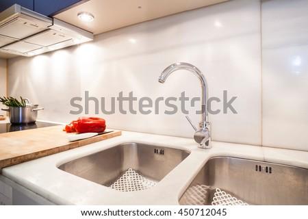 white kitchen sink - stock photo