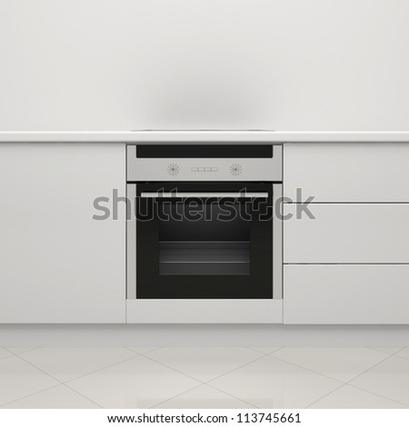 White kitchen with an electric stove and an oven - stock photo
