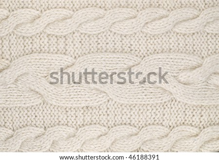 White  knitted with a pattern textured background - stock photo
