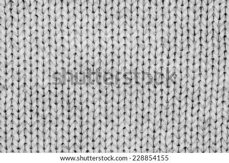 White knitting wool texture closeup photo background. - stock photo