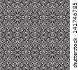 White lace on black, seamless pattern, raster version - stock photo