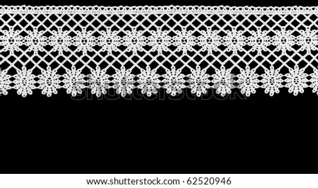 White lace on the black  background