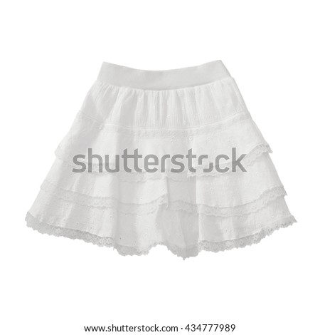 White lace skirt on white background with working path - stock photo