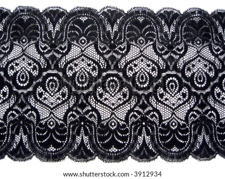 white lace with background with black lace - stock photo