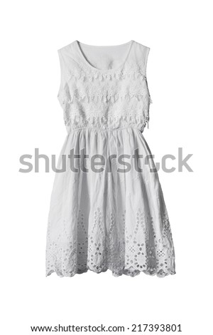 White lacy beautiful sleeveless dress isolated over white - stock photo