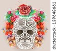 White lacy human skull and watercolor wreath.Los muertos. Raster illustration. - stock photo