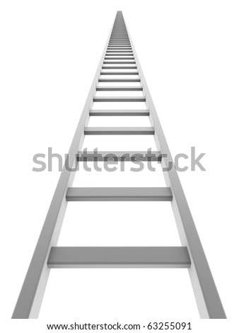 White ladder going up isolated on white background.