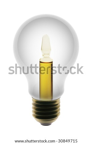 White lamp with ampule