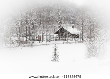 White landscape: snowy Alpine house in the woods. Toned and vignetted image as postcard - stock photo