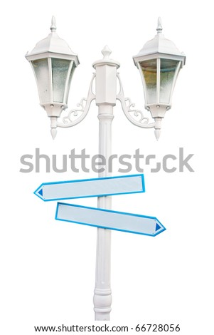 White lanterns with arrow signs Isolated on White Background - stock photo