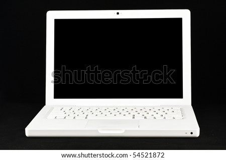 White Lap Top Isolated on a Black Background - Isolated Black Screen - stock photo