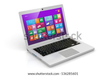 White laptop - stock photo