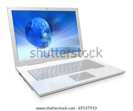 White laptop