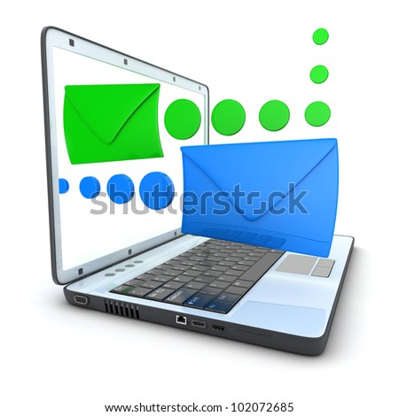 White laptop and mail (done in 3d) - stock photo